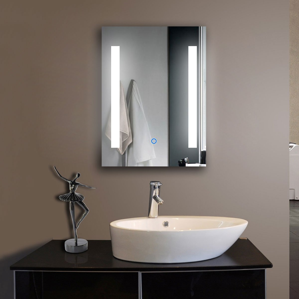 Led vanity bathroom mirrors bathroom vanity cabinets for Frameless bathroom mirrors